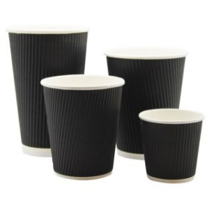 Black Triple Wall Ripple Cups & Lids